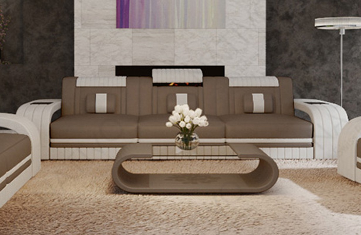 Canapé Design 3 places ROYAL avec éclairage LED et port USB