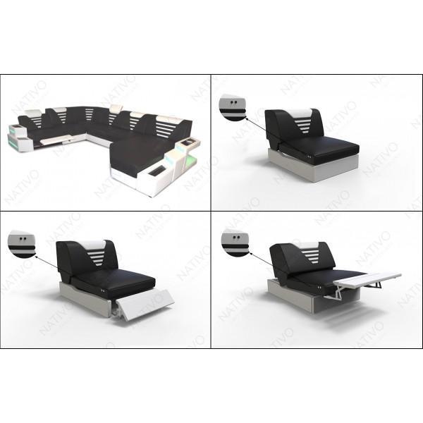 Canapé Design LEA 3+2+1 avec 2 tabourets