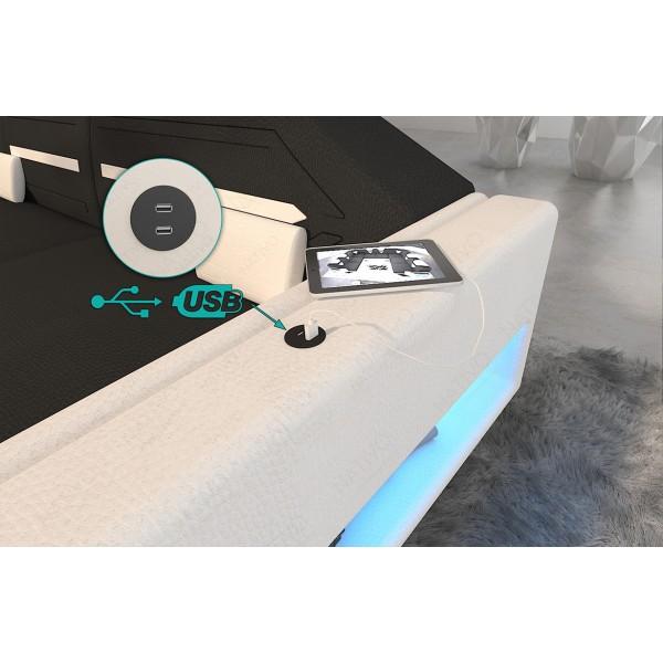 Lit boxspring WIEN en tissu avec topper et port USB