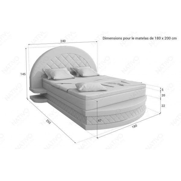 Lit boxspring FRANKFURT en cuir avec topper et port USB