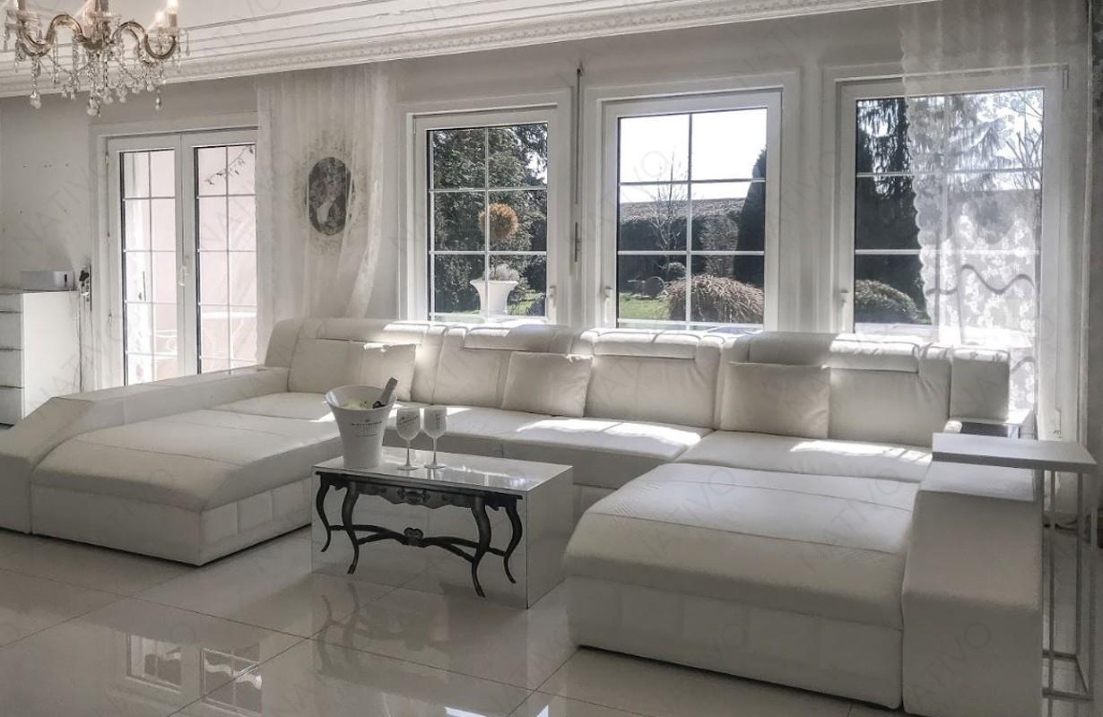 Canapé Design blanc en cuir italien avec éclairage LED