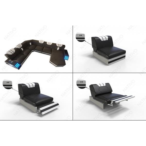 Lit boxspring FRANKFURT en tissu avec topper et port USB
