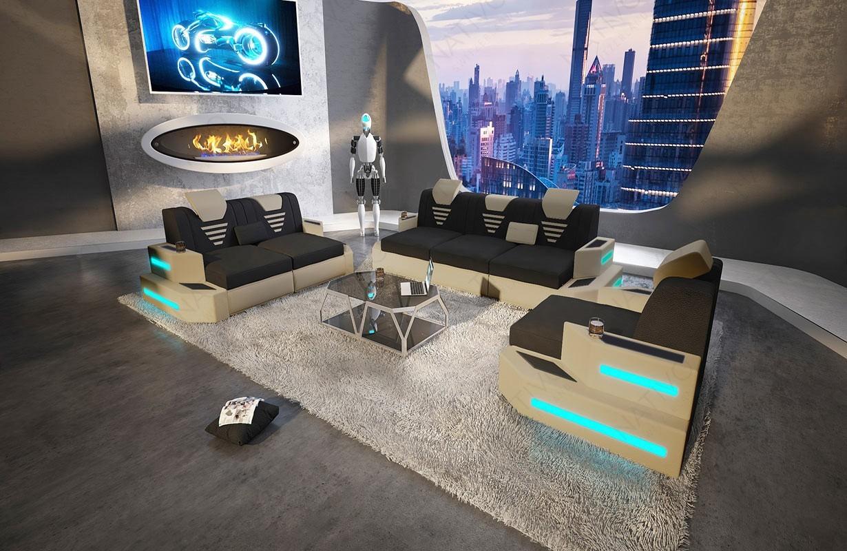 Canapé Design NEMESIS 3+2+1 avec éclairage LED et port USB