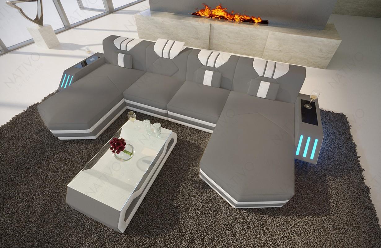 Canapé Design CLERMONT XXL DUO avec éclairage LED