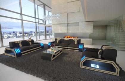 Canapé Design MYSTIQUE 3+2+1 avec éclairage LED et port USB NATIVO mobilier France