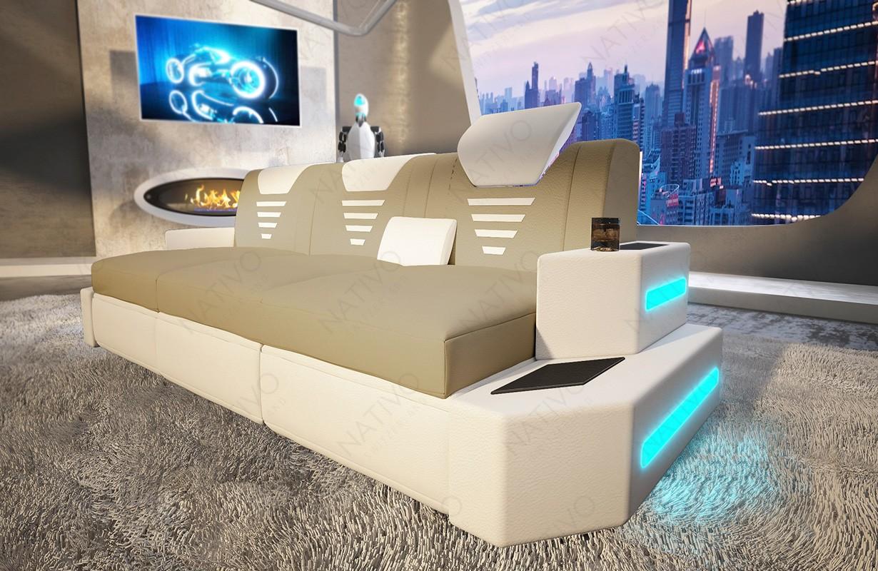 Canapé Design 3 places NEMESIS avec éclairage LED et port USB