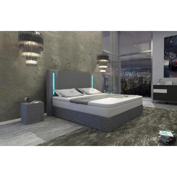 Lit boxspring BERLIN en cuir avec topper et port USB NATIVO mobilier France