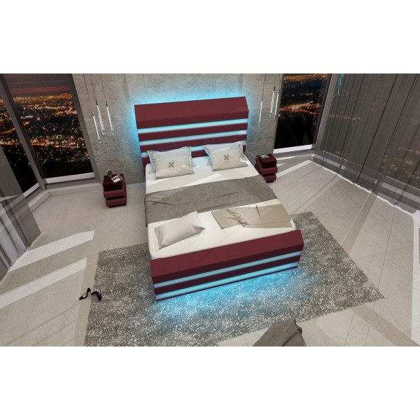 Lit boxspring BERLIN en cuir avec topper et port USB NATIVO mobilier France