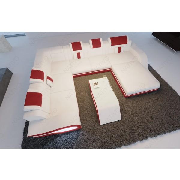 Lit boxspring BERLIN en tissu avec topper et port USB NATIVO mobilier France