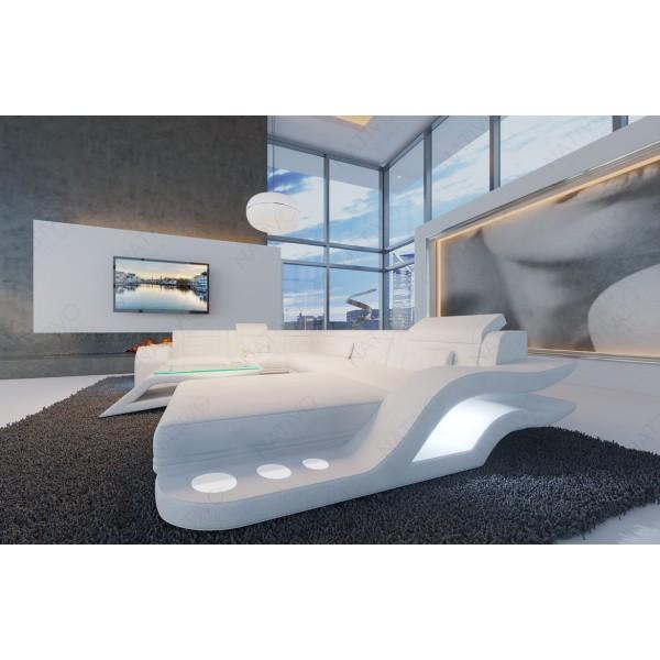 Lit Design MARS avec espace de stockage éclairage LED et port USB NATIVO mobilier France