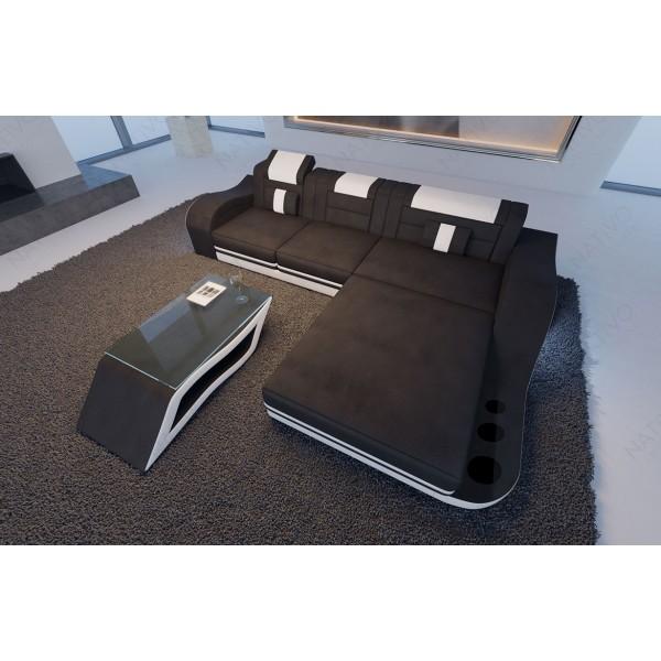 Lit boxspring PARIS en cuir avec topper et port USB