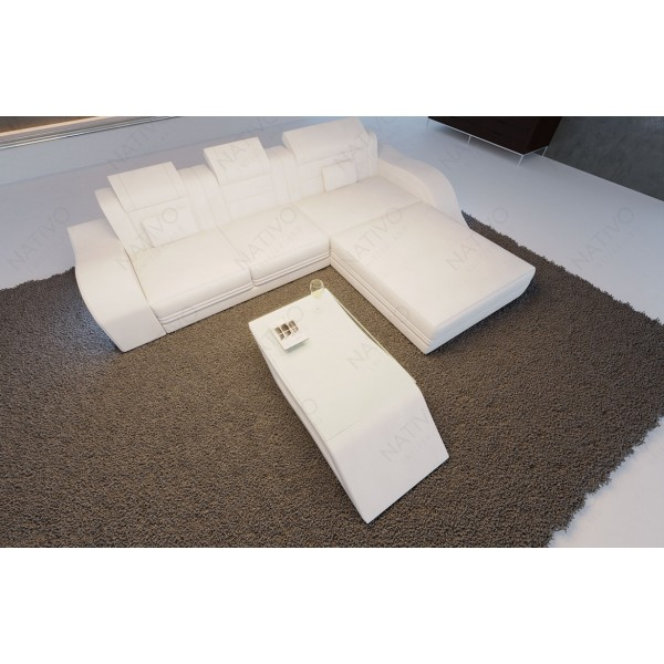 Lit boxspring PARIS en cuir avec topper et port USB NATIVO mobilier France