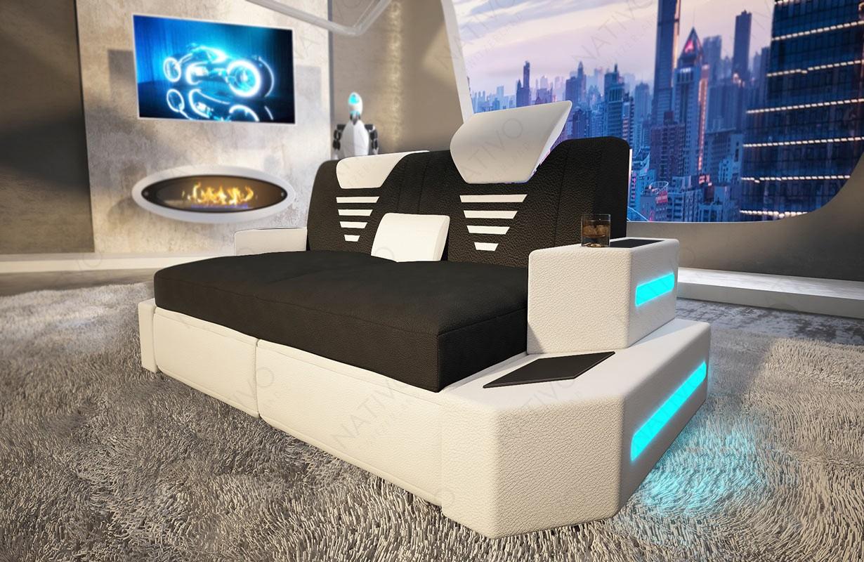 Canapé Design 2 places NEMESIS avec éclairage LED et port USB