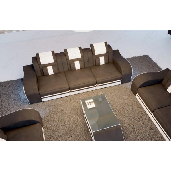 Lit boxspring PARIS en cuir avec topper et port USB NATIVO mobilier France