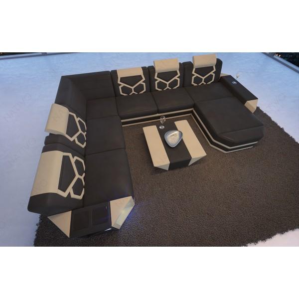 Lit boxspring PARIS en tissu avec topper et port USB NATIVO mobilier France