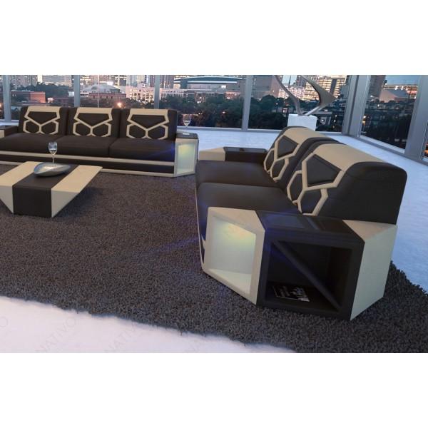 Lit boxspring ROMA en cuir avec topper et port USB NATIVO™ mobilier France