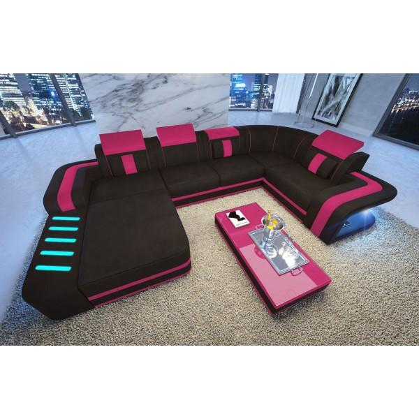 Lit boxspring ROMA en tissu avec topper et port USB NATIVO™ mobilier design France