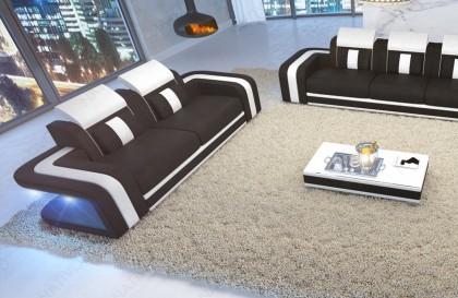 Lit boxspring ROMA en tissu avec topper et port USB NATIVO™ mobilier France