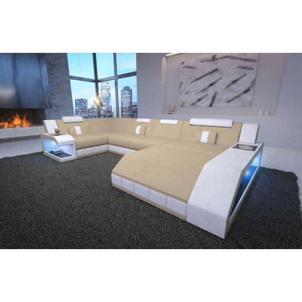 Canapé Design MYSTIQUE XXL avec éclairage LED et port USB NATIVO™ mobilier France