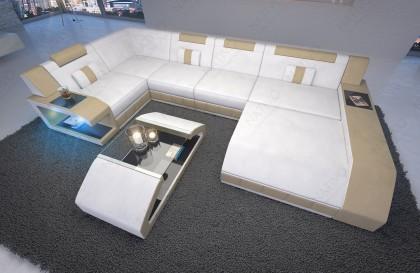 Canapé Design MYSTIQUE CORNER U FORM avec éclairage LED et port USB