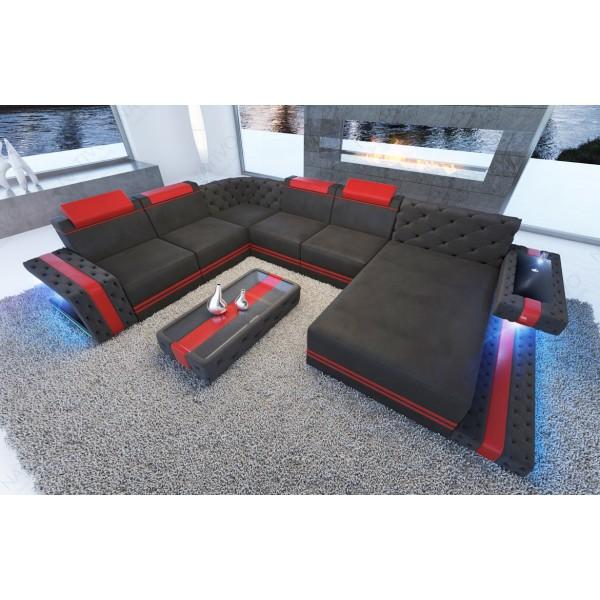 Canapé Design MYSTIQUE CORNER U FORM avec éclairage LED et port USB NATIVO™ mobilier France