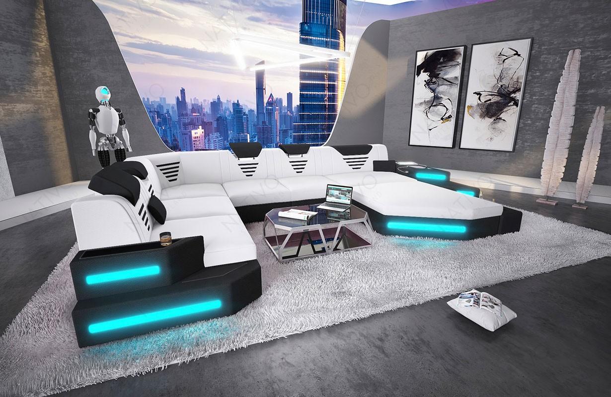 Canapé Design NEMESIS XXL avec éclairage LED et port USB