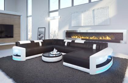 Canapé Design ROUGE XL avec éclairage LED et port USB