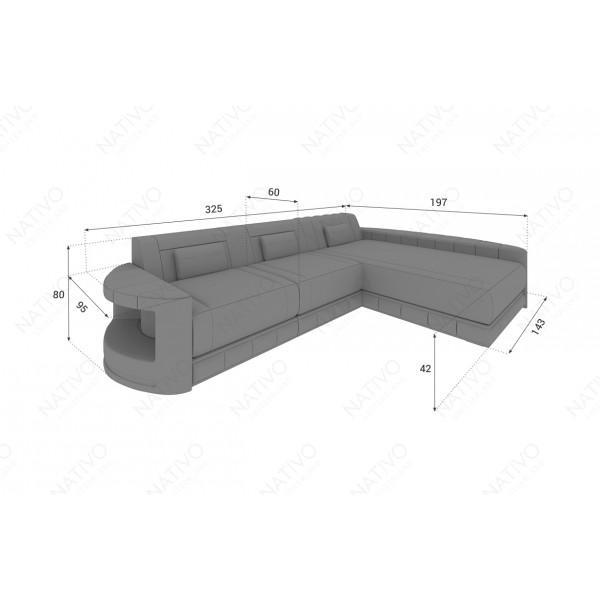 Canapé Design ROUGE CORNER U FORM avec éclairage LED et port USB NATIVO™ mobilier France
