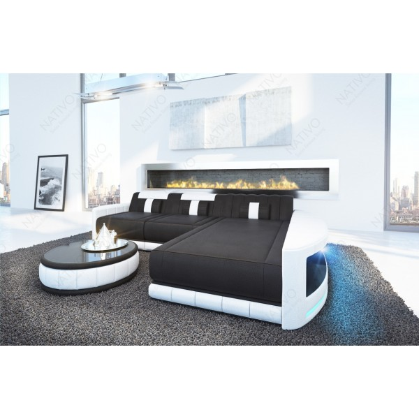 Canapé Design ROUGE CORNER U FORM avec éclairage LED et port USB