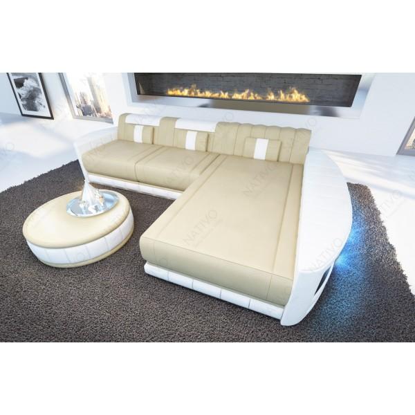 Canapé Design ROUGE XXL avec éclairage LED et port USB