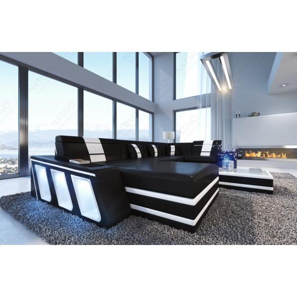 Canapé Design ROUGE XXL DUO avec éclairage LED et port USB