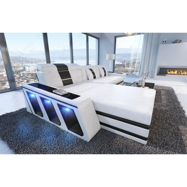 Canapé Design ROUGE 3+2+1 avec éclairage LED et port USB NATIVO™ mobilier France