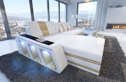 EN STOCK: Canapé Design MYSTIQUE 3+2+1 avec éclairage LED et port USB (noir et rouge) NATIVO™ mobilier France