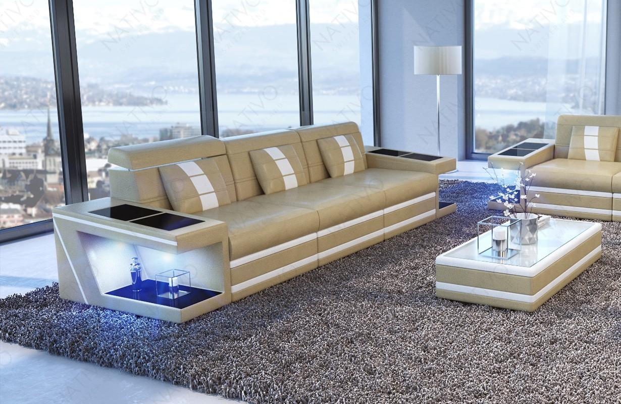 Canapé Design 3 places CAREZZA avec éclairage LED