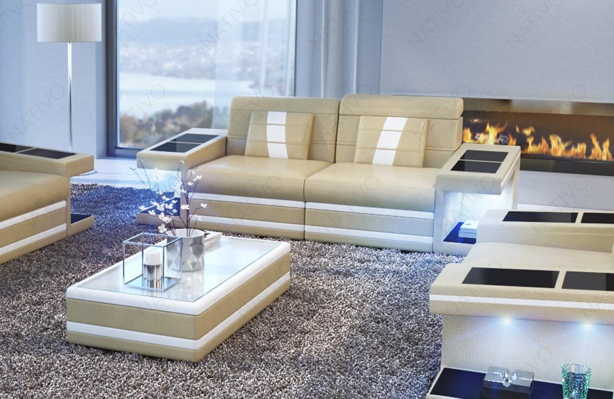 Canapé Design 2 places CAREZZA avec éclairage LED