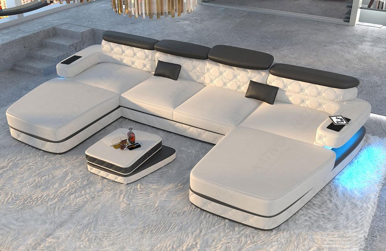 Canapé Design EXODUS XXL DUO avec éclairage LED et port USB