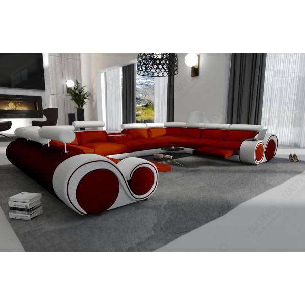 Lit boxspring WIEN en tissu avec topper et port USB NATIVO™ mobilier France