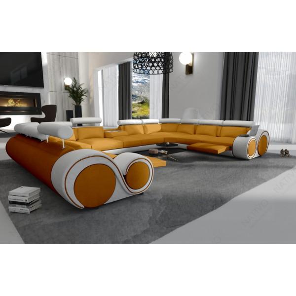 Lit boxspring ZÜRICH en cuir avec topper et port USB NATIVO™ mobilier France