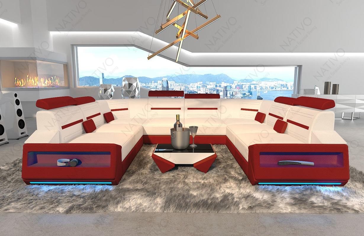 Canapé Design AVATAR CORNER U FORM avec éclairage LED et port USB