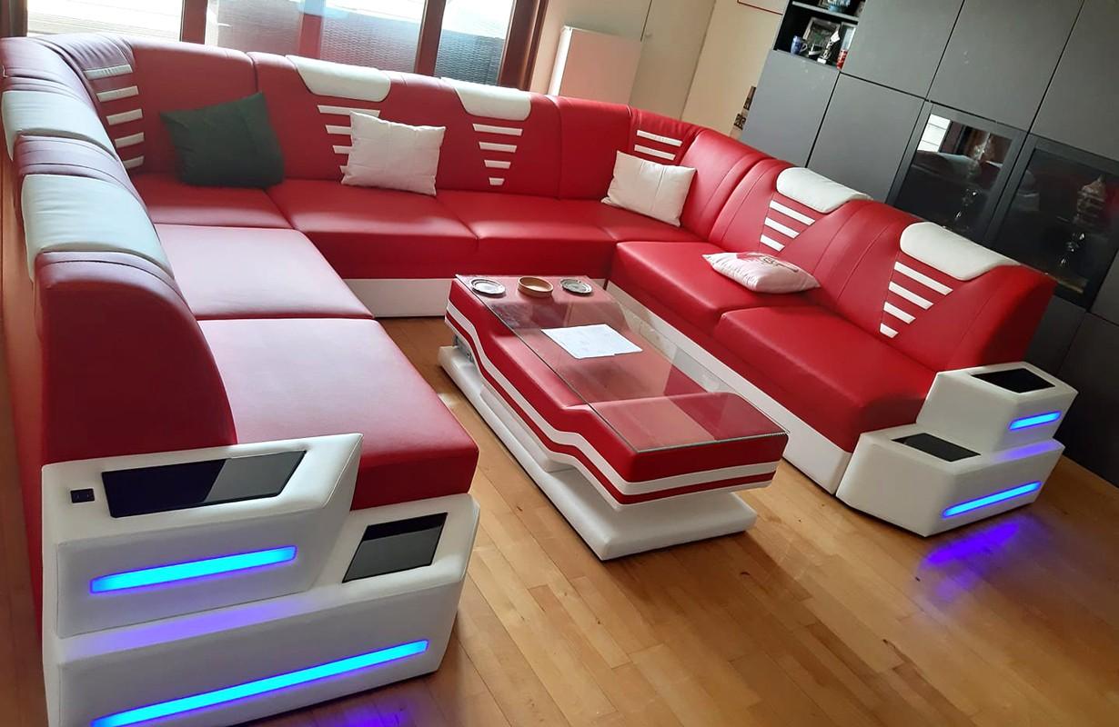Canapé U FORM avec éclairage LED et port USB