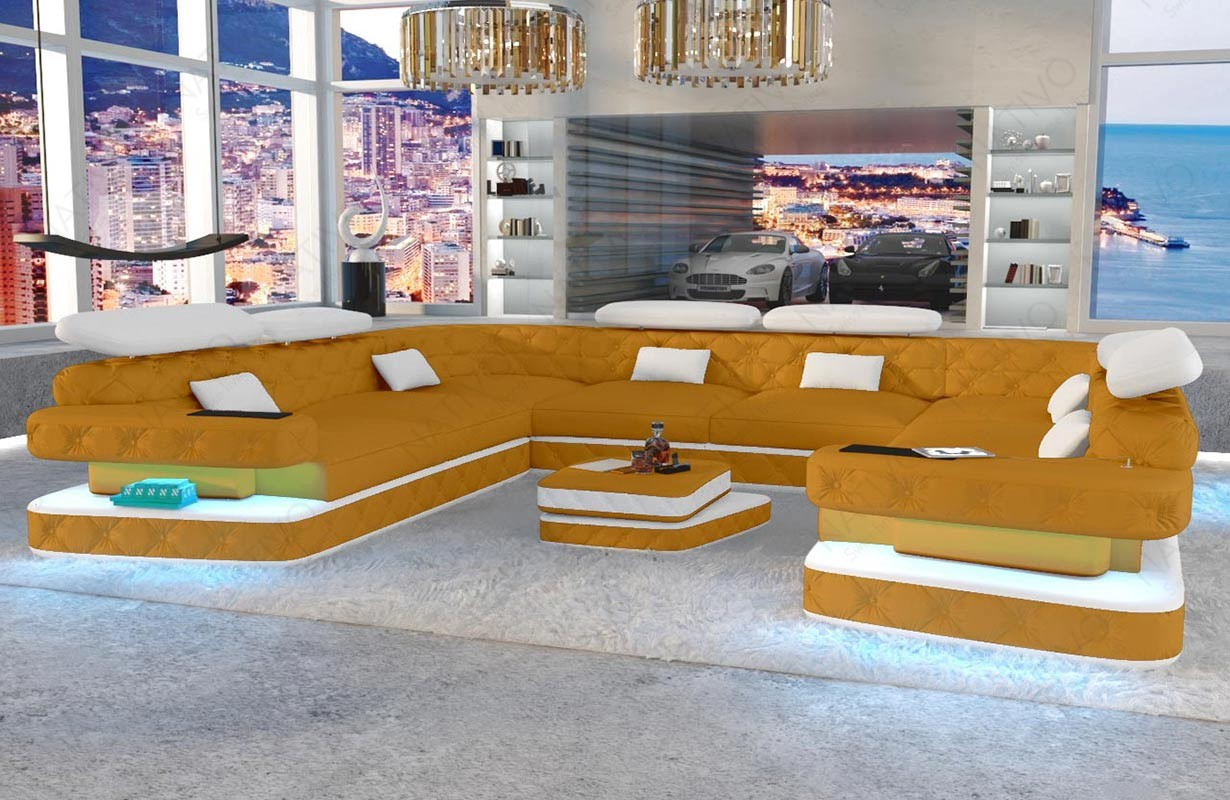 Canapé Design EXODUS CORNER U FORM avec éclairage LED et port USB