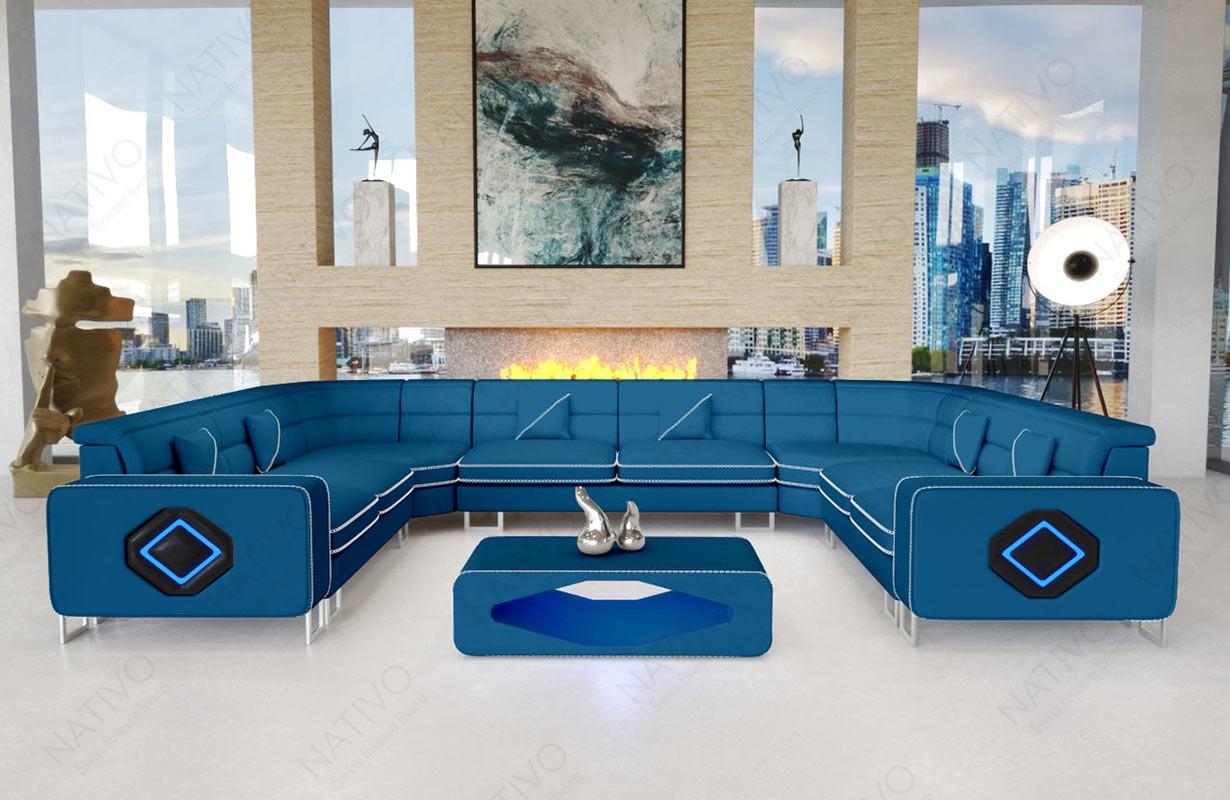 Canapé Design GREGORY CORNER U FORM avec éclairage LED