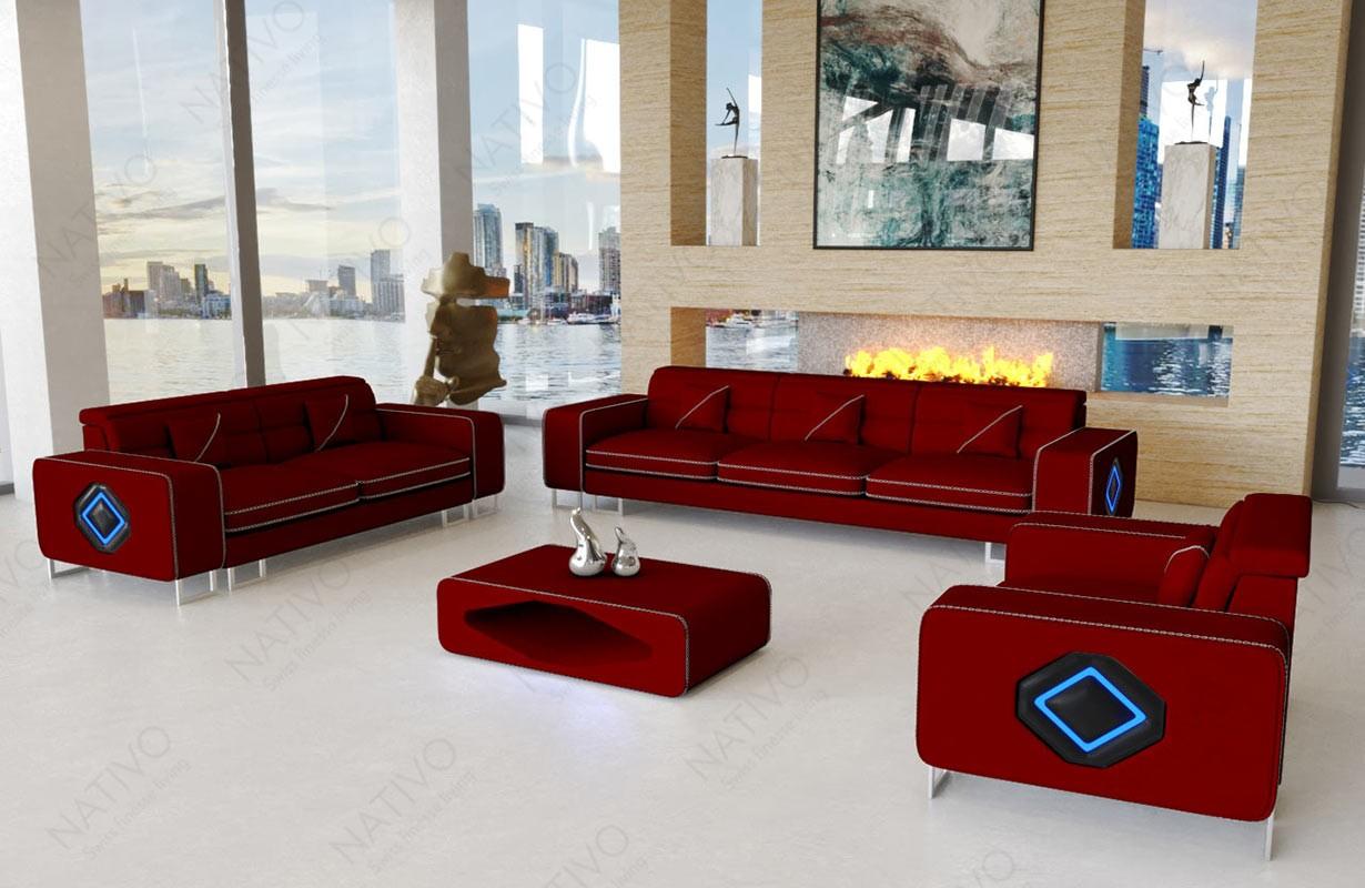 Canapé Design GREGORY 3+2+1 avec éclairage LED