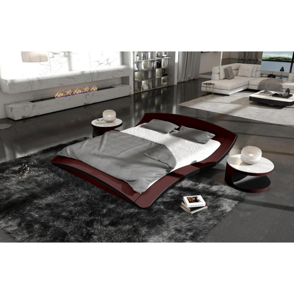 Lit boxspring BERLIN en cuir avec topper et port USB NATIVO™ mobilier France