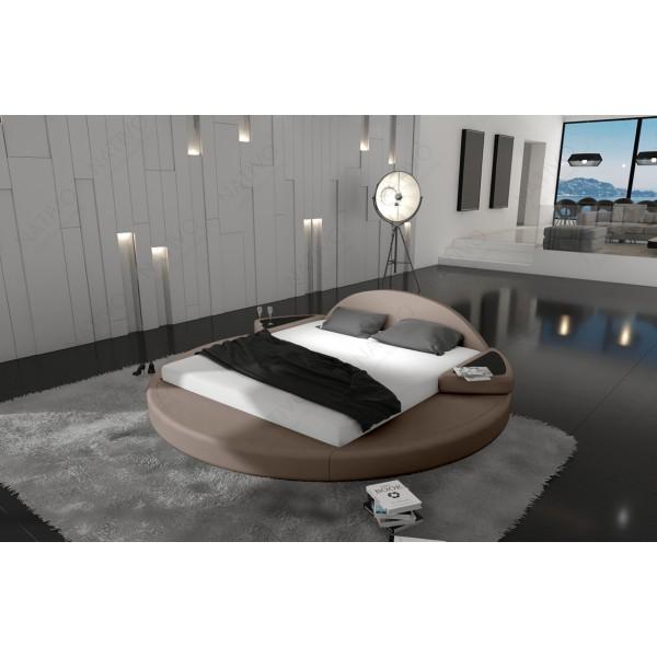 Lit boxspring BERLIN en cuir avec topper et port USB NATIVO™ mobilier France