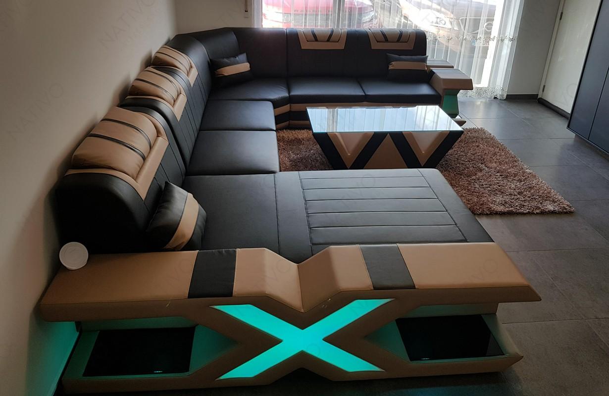 Canapé Design noir/beige avec éclairage LED et port USB