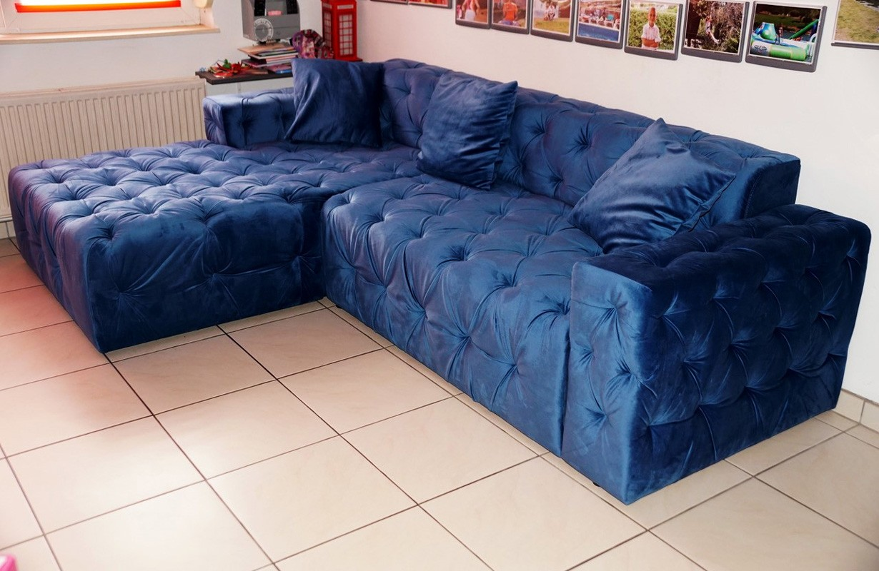 Canapé d'angle en tissu premium