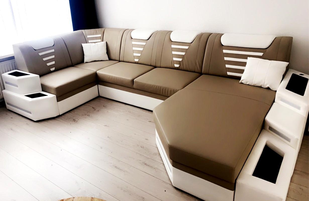 Canapé panoramique avec éclairage LED et port USB