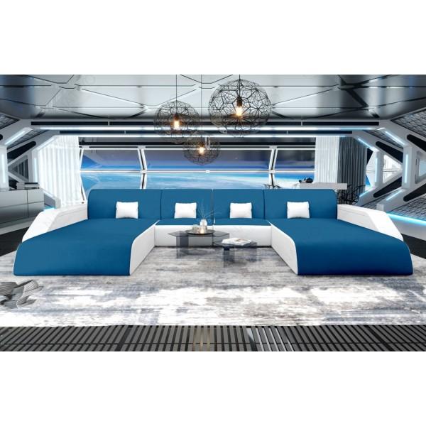 Lit boxspring BERLIN en tissu avec topper et port USB NATIVO™ mobilier France