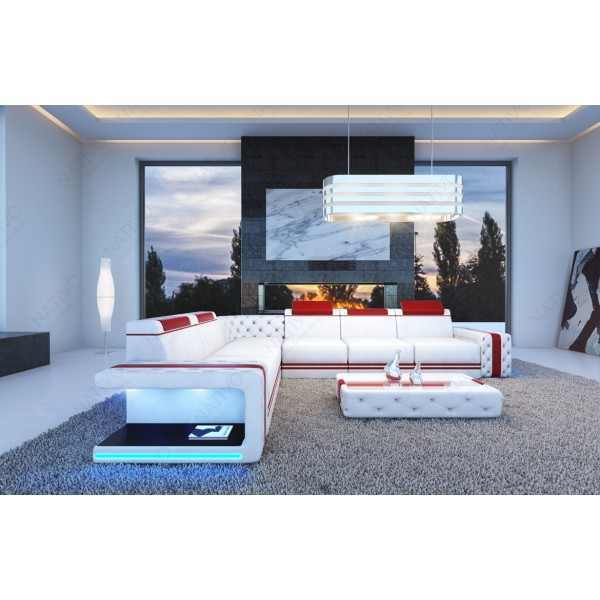 Canapé Design 2 places ROUGE avec éclairage LED et port USB NATIVO™ mobilier France